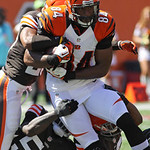 Cincinnati Bengals tight end Jermaine Gresham (84) is stopped after a short gain in the first half of an NFL football game against the Cleveland Browns, Sunday, Sept. 16, 2012, in Cincinnati …