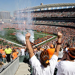 Cincinnati Bengals fans cheer at the start of an NFL football game against the Cleveland Browns, Sunday, Sept. 16, 2012, in Cincinnati. (AP Photo/Tom Uhlman)