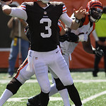 Cleveland Browns quarterback Brandon Weeden (3) in action against the Cincinnati Bengals during an NFL football game, Sunday, Sept. 16, 2012, in Cincinnati. (AP Photo/Tom Uhlman)