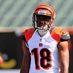 Cincinnati Bengals wide receiver A.J. Green warms up prior to an NFL football game against the Cleveland Browns, Sunday, Sept. 16, 2012, in Cincinnati. (AP Photo/Al Behrman)