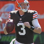Cleveland Browns quarterback Brandon Weeden in action against the Cincinnati Bengals in an NFL football game, Sunday, Sept. 16, 2012, in Cincinnati. (AP Photo/Tom Uhlman)