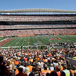 Paul Brown Stadium is sold out for an NFL football game between the Cincinnati Bengals and the Cleveland Browns, Sunday, Sept. 16, 2012, in Cincinnati. (AP Photo/Tom Uhlman)