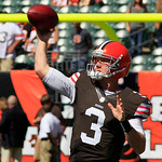 Cleveland Browns quarterback Brandon Weeden warms up prior to an NFL football game against the Cincinnati Bengals, Sunday, Sept. 16, 2012, in Cincinnati. (AP Photo/David Kohl)
