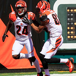 Cincinnati Bengals' Adam Jones (24) is congratulated by Marvin Jones (82) after returning a punt 81 yards for a touchdown in the first half of an NFL football game on Sunday, Sept. 16, 2012, …