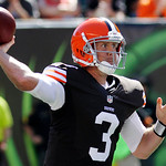 Cleveland Browns quarterback Brandon Weeden passes against the Cincinnati Bengals in the second half of an NFL football game, Sunday, Sept. 16, 2012, in Cincinnati. (AP Photo/Tom Uhlman)