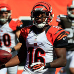 Cincinnati Bengals wide receiver Andrew Hawkins (16) scores on a pass reception in the second half of an NFL football game against the Cleveland Browns, Sunday, Sept. 16, 2012, in Cincinnati …