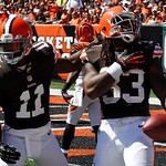 Cleveland Browns running back Trent Richardson (33) celebrates with wide receiver Mohamed Massaquoi (11) after Richardson scored a touchdown in the second half of an NFL football game agains …