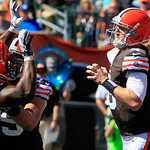 Cleveland Browns quarterback Brandon Weeden (3) passes against the Cincinnati Bengals in an NFL football game, Sunday, Sept. 16, 2012, in Cincinnati. (AP Photo/Al Behrman)
