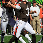Cleveland Browns quarterback Brandon Weeden (3) in action against the Cincinnati Bengals in an NFL football game, Sunday, Sept. 16, 2012, in Cincinnati. (AP Photo/David Kohl)