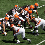 Cleveland Browns quarterback Brandon Weeden (3) calls a play against the Cincinnati Bengals in the first half of an NFL football game, Sunday, Sept. 16, 2012, in Cincinnati. (AP Photo/Tom Uh …