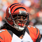Cincinnati Bengals cornerback Adam Jones smiles after a play in the second half of an NFL football game against the Cleveland Browns, Sunday, Sept. 16, 2012, in Cincinnati. (AP Photo/David K …