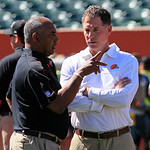 Cincinnati Bengals head coach Marvin Lewis, left, talks with Cleveland Browns head coach Pat Shurmur prior to an NFL football game, Sunday, Sept. 16, 2012, in Cincinnati. (AP Photo/David Koh …
