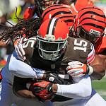 Cleveland Browns wide receiver Greg Little  in action against the Cincinnati Bengals in the first half of an NFL football game, Sunday, Sept. 16, 2012, in Cincinnati. (AP Photo/David Kohl)