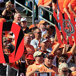 Cincinnati Bengals fans hold up a defense sign during an NFL football game against the Cleveland Browns, Sunday, Sept. 16, 2012, in Cincinnati. (AP Photo/David Kohl)