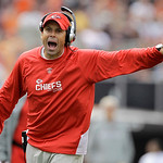 Kansas City Chiefs head coach Todd Haley yells at an official during his teams' NFL football game against the Cleveland Browns on Sunday, Sept. 19, 2010, in Cleveland.  (AP Photo/Amy Sancett …