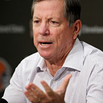 Cleveland Browns offensive coordinator Norv Turner answers questions during his introductory news conference at the NFL football team's practice facility in Berea, Ohio Wednesday, Jan. 23, 2 …