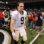 New Orleans Saints quarterback Drew Brees (9) walks off the field after an NFL football game against the Cleveland Browns at the Louisiana Superdome, Sunday, Oct. 24, 2010, in New Orleans. B …