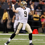New Orleans Saints quarterback Drew Brees (9) passes during the first half of an NFL football game against the Cleveland Browns at the Louisiana Superdome in New Orleans, Sunday, Oct. 24, 20 …