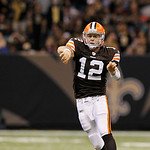 Cleveland Browns quarterback Colt McCoy (12) passes during the first half of an NFL football game against the New Orleans Saints at the Louisiana Superdome in New Orleans, Sunday, Oct. 24, 2 …