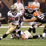 New Orleans Saints running back Chris Ivory (29) rushes away from Cleveland Browns' Eric Barton (50) during an NFL football game at the Louisiana Superdome, Sunday, Oct. 24, 2010, in New Orl …