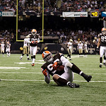 Cleveland Browns linebacker David Bowens (96) celebrates in the endzone after returning an interception for a touchdown against the  New Orleans Saints during the fourth quarter an NFL footb …