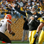 Pittsburgh Steelers quarterback Ben Roethlisberger, right, passes the ball over Cleveland Browns linebacker Kaluka Maiava in the third quarter of an NFL football game in Pittsburgh, Sunday,  …