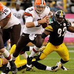 Pittsburgh Steelers linebacker James Harrison (92) flushes Cleveland Browns quarterback Derek Anderson (3) out of the pocket during the first quarter of an NFL football game in Pittsburgh, S …