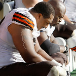 Cleveland Browns offensive lineman John St. Clair, left, and Floyd Womack sit on the bench as time runs down in the second half of an NFL football game against the Pittsburgh Steelers in Pit …