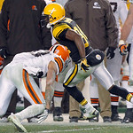 Pittsburgh Steelers wide receiver Antonio Brown, right, gets by Cleveland Browns free safety Mike Adams (20) after making a catch, on the way to a touchdown in the fourth quarter of an NFL f …