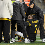 Pittsburgh Steelers quarterback Ben Roethlisberger (7) is helped up after being injured in the second quarter of the NFL football game against the Cleveland Browns on Thursday, Dec. 8, 2011, …