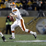 Cleveland Browns quarterback Colt McCoy (12) scrambles in the NFL football game against the Pittsburgh Steelers on Thursday, Dec. 8, 2011, in Pittsburgh. (AP Photo/Gene J. Puskar)