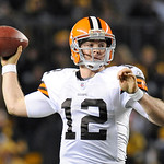 Cleveland Browns quarterback Colt McCoy (12) passes in the third quarter of the NFL football game against the Pittsburgh Steelers on Thursday, Dec. 8, 2011, in Pittsburgh. The Steelers won 1 …