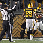 Pittsburgh Steelers wide receiver Antonio Brown, right, poses as teammate Jerricho Cotchery (89) comes to celebrate Brown's touchdown reception the fourth quarter of an NFL football game aga …