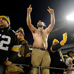 Pittsburgh Steelers fans celebrate during the third quarter of an NFL Football game between the Pittsburgh Steelers and Cleveland Browns Thursday, Dec. 8, 2011, in Pittsburgh. Pittsburgh won …