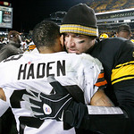 Pittsburgh Steelers quarterback Ben Roethlisberger, right, hugs Cleveland Browns' Joe Haden after an NFL football game  in Pittsburgh, Thursday, Dec. 8, 2011. The Steelers won 14-3. (AP Phot …
