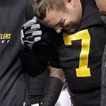 Pittsburgh Steelers quarterback Ben Roethlisberger winces as he is helped from the field after being injured in the second quarter of an NFL football game against the Cleveland Browns on Thu …