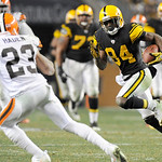 Pittsburgh Steelers wide receiver Antonio Brown (84) runs after making a catch as Cleveland Browns cornerback Joe Haden (23) defends in the NFL football game on Thursday, Dec. 8, 2011, in Pi …