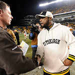 Cleveland Browns coach Pat Shurmur and Pittsburgh Steelers coach Mike Tomlin shake hands after an NFL football game Thursday, Dec. 8, 2011, in Pittsburgh. Pittsburgh won 14-3. (AP Photo/Don  …