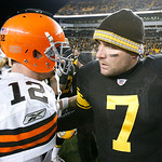 Pittsburgh Steelers quarterback Ben Roethlisberger (7) greets Cleveland Browns quarterback Colt McCoy (12) after an NFL football game  in Pittsburgh, Thursday, Dec. 8, 2011. The Steelers won …