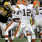 Cleveland Browns quarterback Colt McCoy (12) passes during the fourth quarter of an NFL football game against the Pittsburgh Steelers in Pittsburgh, Thursday, Dec. 8, 2011. (AP Photo/Gene J. …
