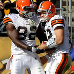 Cleveland Browns receiver Benjamin Watson (82) celebrates with quarterback Colt McCoy after catching a 12-yard touchdown pass during the fourth quarter of an  NFL football game against the P …