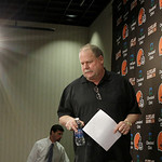 Cleveland Browns president Mike Holmgren prepares to talk to the media hours after the team fired head coach Eric Mangini, at the Browns' training facility in Cleveland on Monday, Jan. 3, 20 …