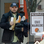 Cleveland Browns offensive coordinator Brian Daboll leaves the NFL team's headquarters Monday, Jan. 3, 2011, in Berea, Ohio. After two 5-11 seasons, head coach Eric Mangini was fired by team …
