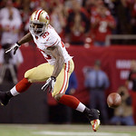 San Francisco 49ers tight end Vernon Davis flys past the ball during the second half of the NFL football NFC Championship game against the Atlanta Falcons Sunday, Jan. 20, 2013, in Atlanta.  …