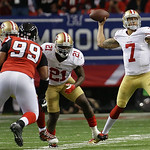 San Francisco 49ers quarterback Colin Kaepernick passes the ball during the first half of the NFL football NFC Championship game Sunday, Jan. 20, 2013, in Atlanta. (AP Photo/Dave Martin)