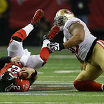 Atlanta Falcons quarterback Matt Ryan is taken down by San Francisco 49ers' Parys Haralson during the second half of the NFL football NFC Championship game Sunday, Jan. 20, 2013, in Atlanta. …