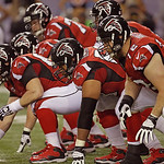 The Atlanta Falcons line up behind the ball during the second half of the NFL football NFC Championship game against the San Francisco 49ers Sunday, Jan. 20, 2013, in Atlanta. (AP Photo/Dave …