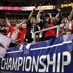 Fans cheer during the first half of the NFL football NFC Championship game between the Atlanta Falcons and the San Francisco 49ers Sunday, Jan. 20, 2013, in Atlanta. (AP Photo/David Goldman)