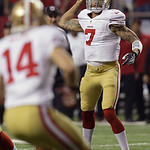 San Francisco 49ers quarterback Colin Kaepernick passes the ball during the second half of the NFL football NFC Championship game against the Atlanta Falcons Sunday, Jan. 20, 2013, in Atlant …