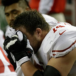 San Francisco 49ers' Joe Staley (74) reacts on the bench during the second half of the NFL football NFC Championship game against the Atlanta Falcons Sunday, Jan. 20, 2013, in Atlanta. (AP P …